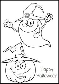 Happy Halloween Coloring Pages Ghost And Pumpkin Coloringstar