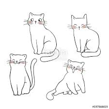 cat drawing outline. Delighful Outline Vector Illustration Character Design Outline Of Cat Draw Doodle Style Throughout Cat Drawing Outline O