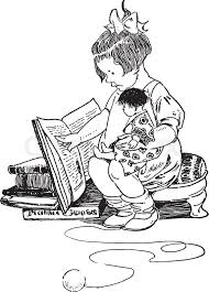 reading book holding doll child doll female kid play read toys vine line drawing or engraving ilration vector
