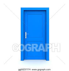 front door clipart. In Front Of Three Doors; Closed Single Blue Door Clipart