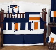 navy blue and orange stripe baby bedding 9pc crib set by sweet jojo designs only 189 99