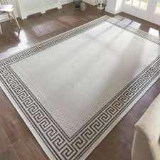 greek key design grey rug 120x160cms natural flooring matting style easy to clean