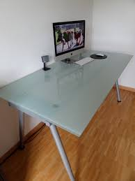 creatives artisan ikea glass top desk famous artistic simple creations frameless tempered surfaces speaker mouse keyboards