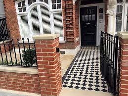 front garden walls and gates. victorian classic mosaic black and white red brick wall metal gate rails paving london clapham balham. garden slabssmall front walls gates r