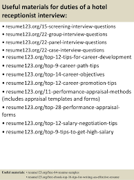15 useful materials for duties of a hotel receptionist hotel receptionist resume sample