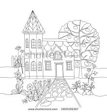 coloring book with country house in garden vector ilration