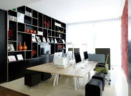 small office design. Furniture Minimalist Small Modern Office Design With Shelves