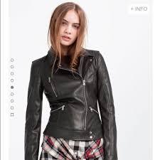zara trafaluc leather biker jacket in black xs women s fashion clothes outerwear on carou