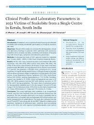 pdf clinical profile and laboratory parameters in 1051 victims of snakebite from a single centre in kerala south india