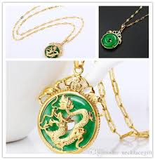 whole animal necklaces chinese ancient mascot dragon pendant necklace 24k gold plated aaa green malaysian jade with 45cm chain jewelry gift silver