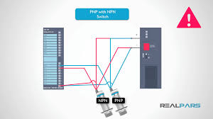 how to wire discrete dc sensors to plc part 2 plc programming note that the common terminal has a wire from the npn sensor 24 volts dc connected to a blue wire from the pnp sensor which would short the power