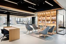 Image Large Large Open Office Lounge Interior Design And Architecture Montreal Shelving Display Millwork Lighting Glass Black Ceiling Aquest Design Large Open Office Lounge Interior Design And Architecture Montreal