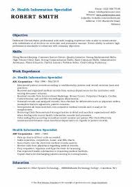 Health Information Specialist Resume Samples Qwikresume