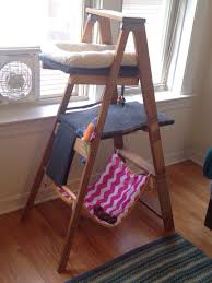 easy to make furniture ideas. diy cat tree made from an old wooden ladder outdoor carpeting left over wood easy to make furniture ideas t