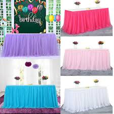 details about new tutu table skirt soft tulle cover wedding birthday party decor pure color
