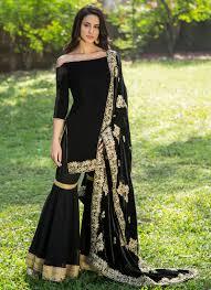 Black Sharara Designs Black Velvet Gharara Suit With Embroidered Shawl Dupatta
