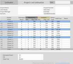 Project Estimate Template Excel Project Cost Estimator Excel Template Free Download