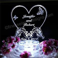 Amazoncom Butterfly Heart Lighted Wedding Cake Topper Acrylic Cake