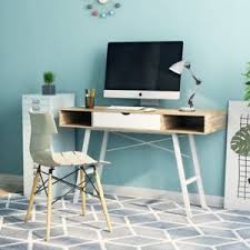 Image is loading Retro-Office-Computer-Desk -Furniture-Scandinavian-Modern-Writing-