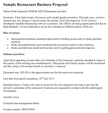 sample business proposal restaurant business proposal template