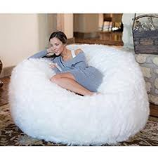 bean bag chairs. Comfy Sacks 5 Ft Memory Foam Bean Bag Chair, White Furry Chairs