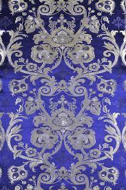 Tibetan Fabric Design Wisteria Blue Tibetan Lotus Brocade Fabric From Banaras