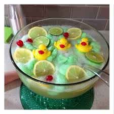Green lime sherbet punch for a gender reveal or boy baby shower idea!  Rubber duckies