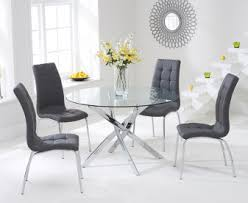 denver 110cm gl dining table with grey calgary chairs
