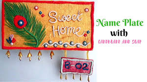 Nameplate Design For School Diy Handmade Name Plate Making With Cardboard And Soap Wall Murals Door Hanger