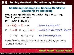 9 5 solving quadratic equations by factoring additional example 2c solving quadratic equations by