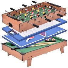 Costway 4 In 1 Multi Game Air Hockey Tennis Football Pool Table Billiard Swivel Indoor - Walmart.com