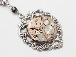steampunk necklace rose gold watch movement silver heart flower filgree jet black crystal statement necklace steampunk