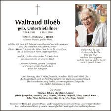 Traueranzeige Von Waltraud Anna Bloéb Vom 27022018