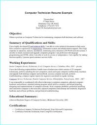 Resume For Computer Technician Fresh Graduate Uncategorized