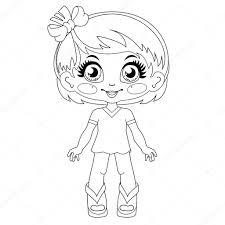 輪郭かわいい人形 ベクターのページを着色 ストックベクター
