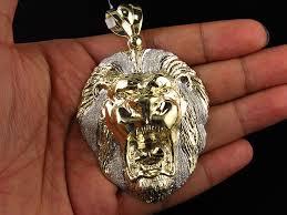 men s solid 10k yellow gold xl lion face piece diamond cut 3 inch