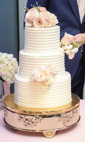 Simple And Elegant Buttercream Wedding Cake With Flowers Lifelong