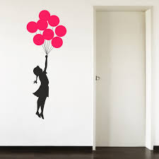 banksy escapism colour balloons girl living room hallway wall art sticker decal