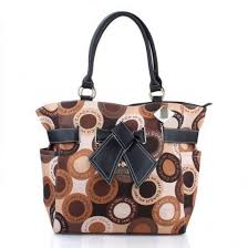 Coach Poppy Bowknot Monogram Medium Brown Totes EUE