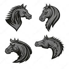 лошади головки геральдическая эмблема векторное изображение