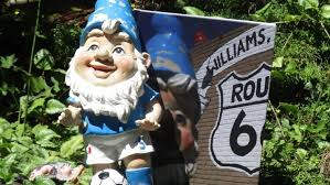 bev york found her gnome at the end of her driveway with a book showing all the places leopold went during his eight month hiatus bev york