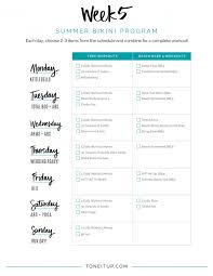 Flow Workout Chart Weekly Fitness Schedule Toneitup Com