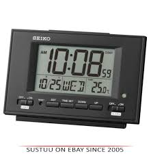 seiko qhl075k lcd dual alarm clock with calendar thermometer snooze light black