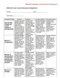Fillable Online Calpoly Kine 320 Cover Letter Resume Scoring