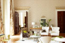 beige wallpaper contemporary living room