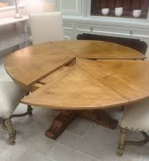 Round Extendable Solid Wood Distressed Dining Table (extends to