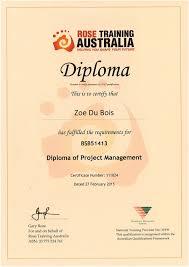 of project management certificate zoe du bois diploma of project management certificate zoe du bois