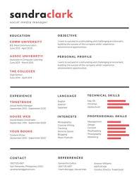 red black social media manager resume media resume template