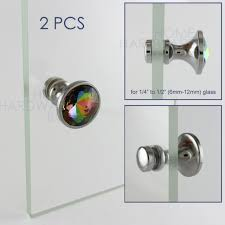 2 pcs crystal door knob showcase cabinet handle glass rainbow color chrome knobs65 knobs