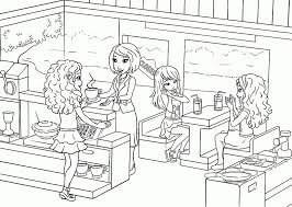 Lego Cafe Coloring Page For Kids Printable Free Lego Friends For